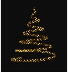 Christmas tree from light stars vector image