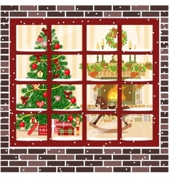Christmas room with fireplace furniture xmas tree vector