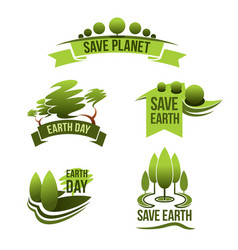 Icons for save earth and nature ecology vector