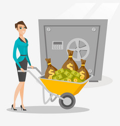 business woman depositing money in bank in safe vector image