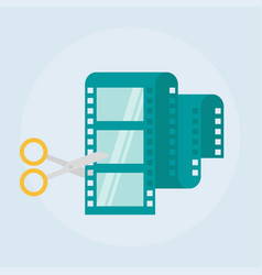 Video editing flat icon vector