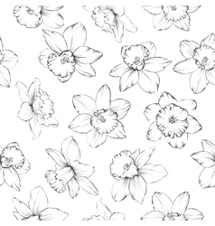 Seamless pattern with flowers narcissus vector image