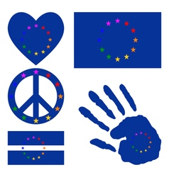 European gay pride design elements vector