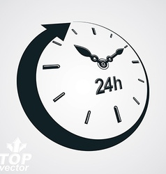 3d 24 hours clock black and white day-and-n vector