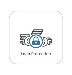 Loan protection icon flat design vector