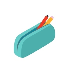 Blue pencil case icon isometric 3d style vector