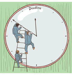 Businessmen prevent the deadline vector
