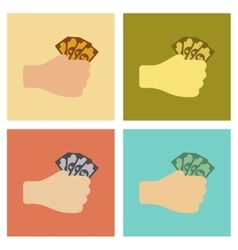 assembly flat icons poker money in hand vector image