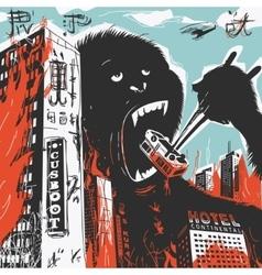 Big Gorilla destroys City vector image