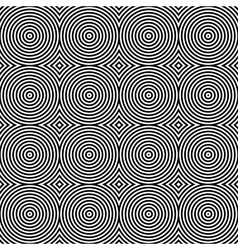 Black and white psychedelic circular textile vector