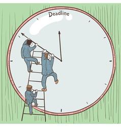 Businessmen prevent the deadline vector