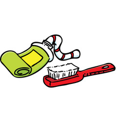Cartoon toothpaste and toothbrush vector