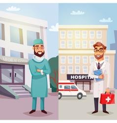 Cheerful doctors vertical banners vector
