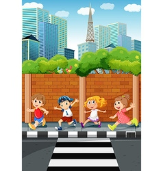 Children running on the sidewalk vector image vector image