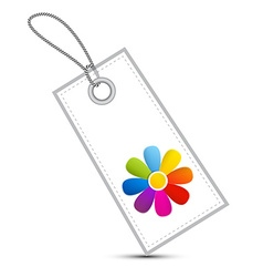 Colorful flower on white label - tag with string vector