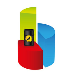 colorful silhouette with statistics graphs with vector image vector image