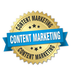 Content marketing 3d gold badge with blue ribbon vector