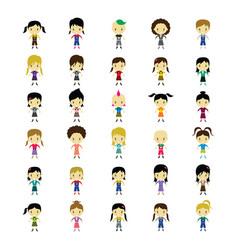 Cute happy little woman - adorable girl cartoon vector