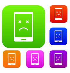 dead phone set color collection vector image vector image
