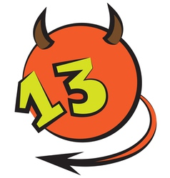 Devilish ball with number thirteen vector
