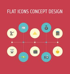 Flat icons money box verdict teller machine and vector