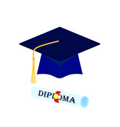 graduation cap and rolled diploma scroll with vector image
