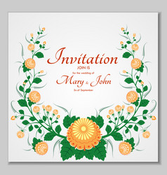 greeting card with stylized orange roses can be vector image