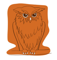 Hand drawn owl sitting on branch ethnic vector
