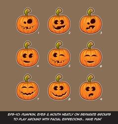 Jack O Lantern Cartoon 9 Funny n Goof Expressions vector image