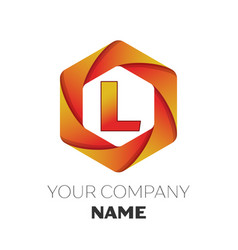 Letter l logo symbol on colorful hexagonal vector