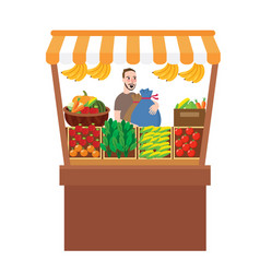 Man selling fruits vegetables in stall stand fresh vector