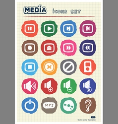 Music and media web icons set drawn by chalk vector image