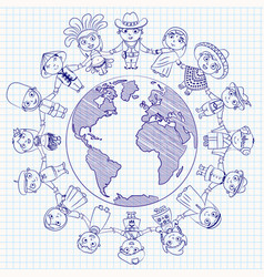 Nationalities funny cartoon character vector