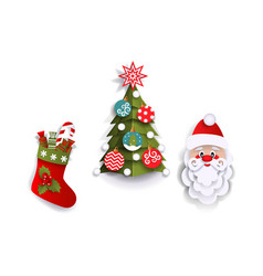 Paper cut christmas tree stocking and santa claus vector
