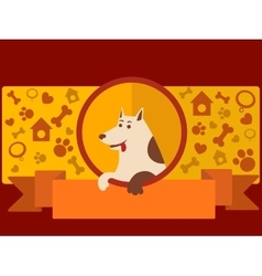 Pet shop banner with dog cartoon vector