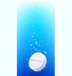 Pill in water on white background vector