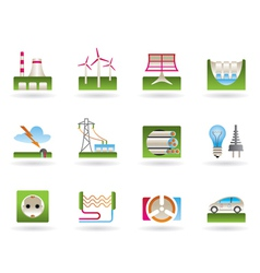 Power plants and electricity grids vector