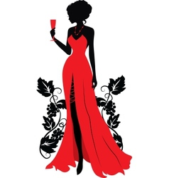 Silhouette of woman with wineglass vector image vector image