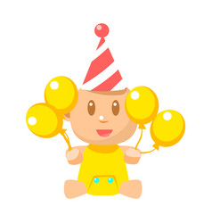 Small happy baby in birthday party hat with yellow vector