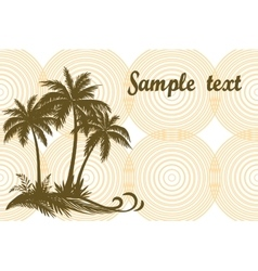 Tropical palms and grass silhouettes vector