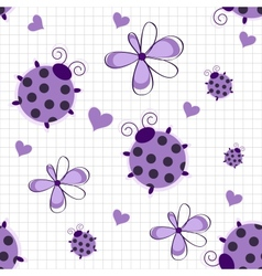 Romantic seamless pattern with ladybugs hearts and vector