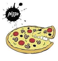 Hot tasty pizza vector