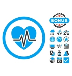 Heart diagram flat icon with bonus vector