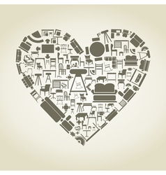 Furniture heart vector