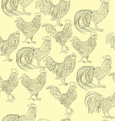 roosters doodles pattern vector image