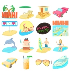 Miami travel icons set cartoon style vector