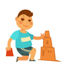 cartoon little boy builds sand castle isolated vector image