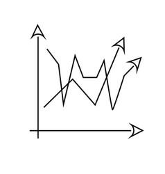 2 line chart icon vector