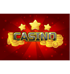 Logo text casino and gold coins for ui game vector