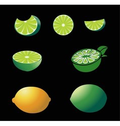 A whole lemon and slices at different angles vector